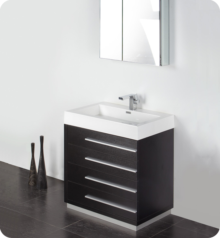 black vanity with sink.  30 inch Black Modern Bathroom Vanity