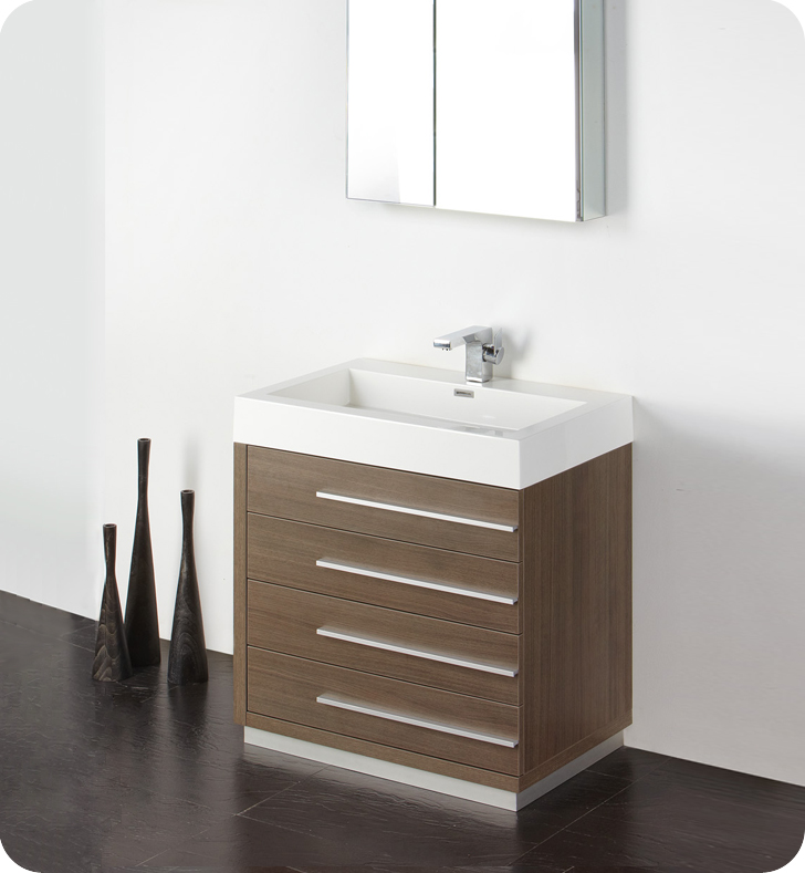 Fresca Livello 30 Gray Oak Modern Bathroom Vanity With Faucet Medicine Cabinet And Linen Side