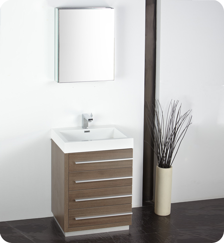 "24"" Gray Oak Modern Bathroom Vanity with Faucet, Medicine Cabinet and Linen Side Cabinet Options"