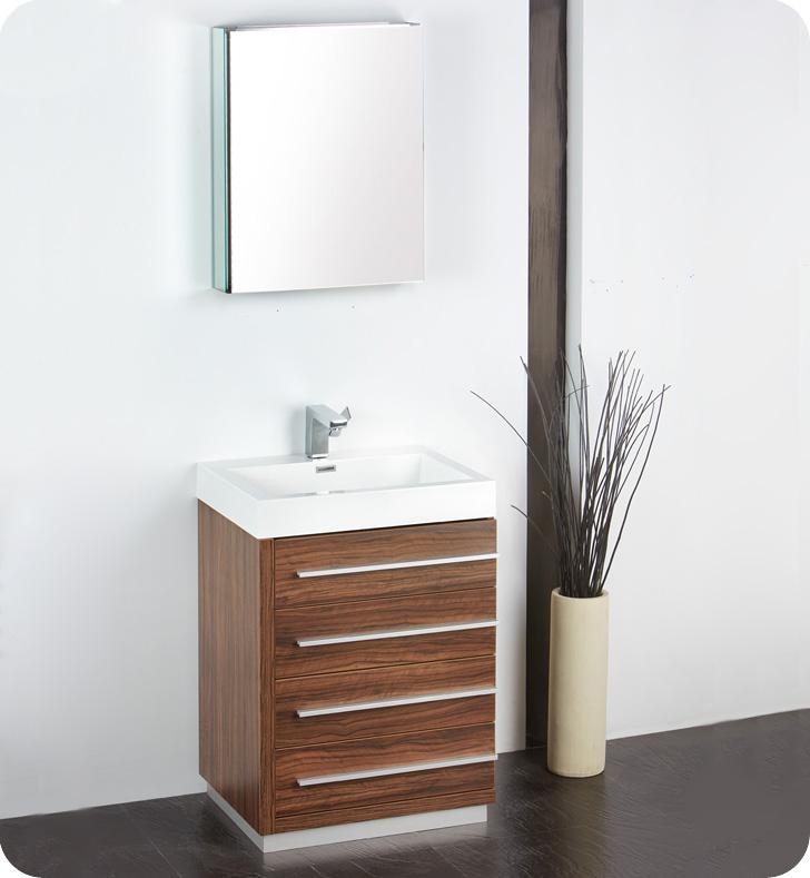 "24"" Walnut Modern Bathroom Vanity with Faucet, Medicine Cabinet and Linen Side Cabinet Option"