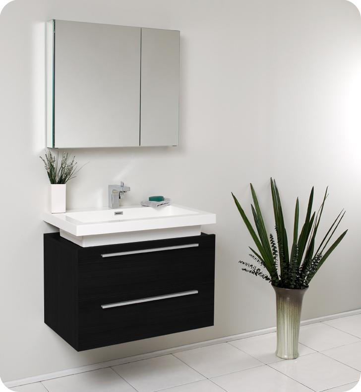 Fresca Medio Black Modern Bathroom Vanity and Medicine Cabinet