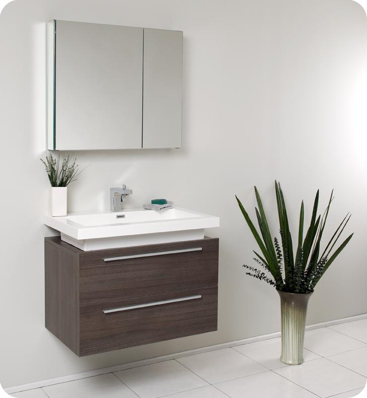 "32"" Gray Oak Modern Bathroom Vanity with Faucet, Medicine Cabinet and Linen Side Cabinet Option"