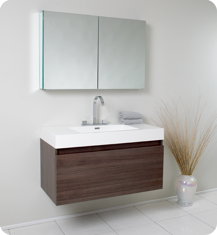 "39"" Gray Oak Modern Bathroom Vanity with Faucet, Medicine Cabinet and Linen Side Cabinet Option"