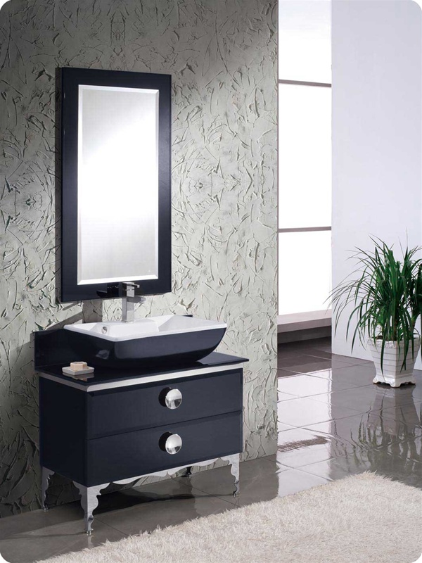 "36"" Black Modern Glass Bathroom Vanity in Faucet Option"