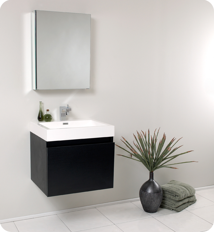 "Fresca Nano 24"" Black Modern Bathroom Vanity with Faucet, Medicine Cabinet and Linen Side Cabinet Option"