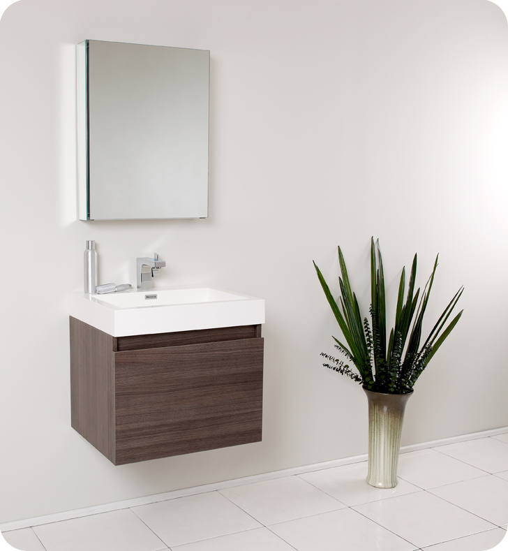 "Fresca Nano 24"" Gray Oak Modern Bathroom Vanity with Faucet, Medicine Cabinet and Linen Side Cabinet Option"
