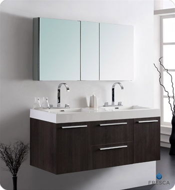 """54"""" Gray Oak Modern Double Sink Bathroom Vanity with Faucet, Medicine Cabinet and Linen Side Cabinet Option"""