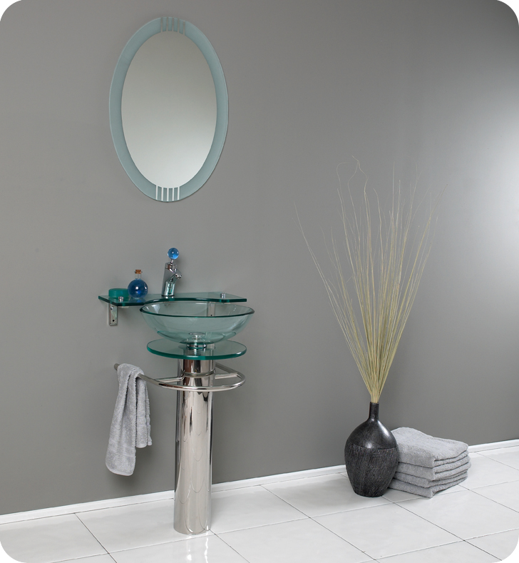 """Fresca Ovale Collection 24"""" Modern Glass Bathroom Vanity with Faucet and Cabinet Option"""
