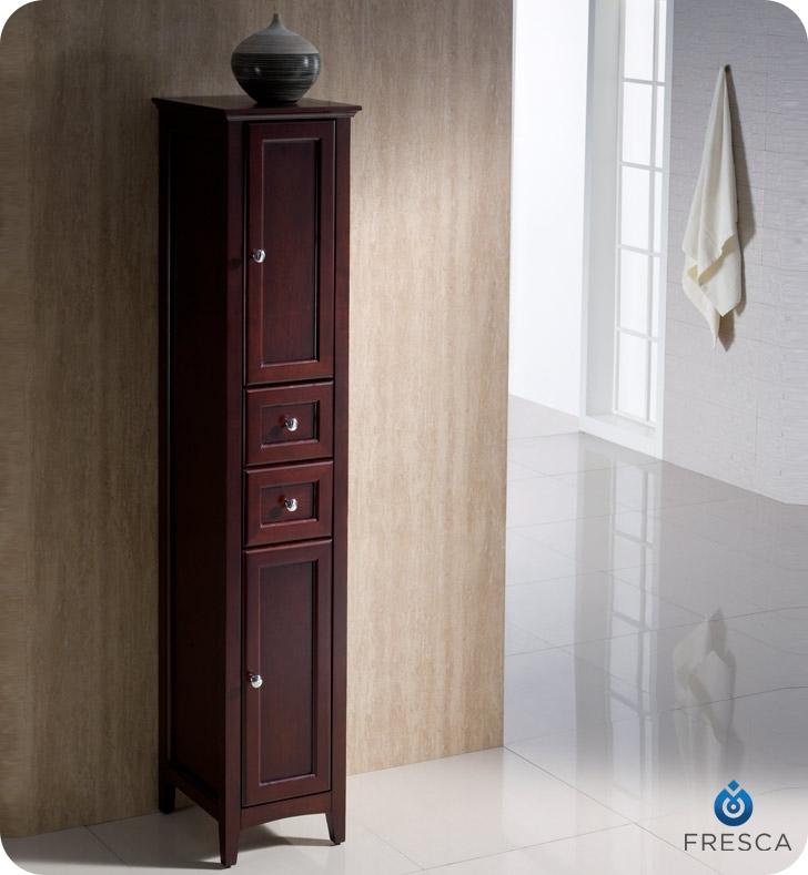 "Fresca Oxford 14"" Tall Linen Side Cabinet Mahogany Finish"