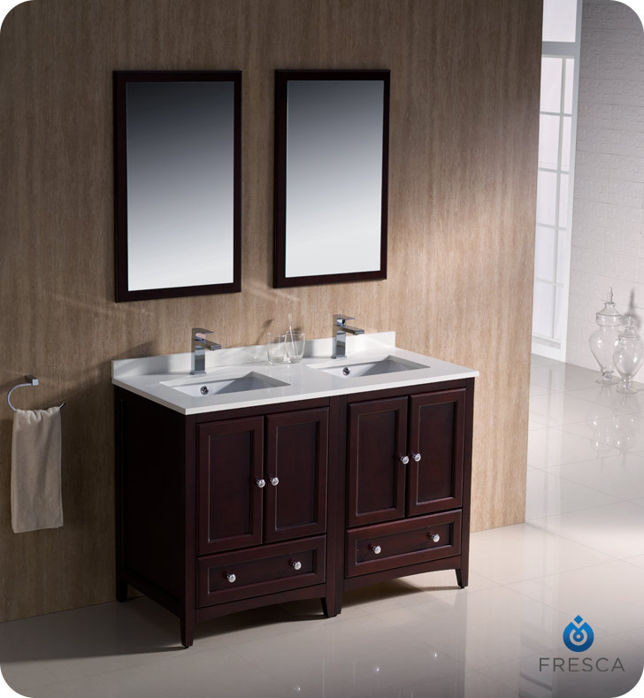 """Fresca Oxford Collection 48"""" Mahogany Traditional Double Sink Bathroom Vanity with Top, Sink, Faucet and Linen Cabinet Option"""