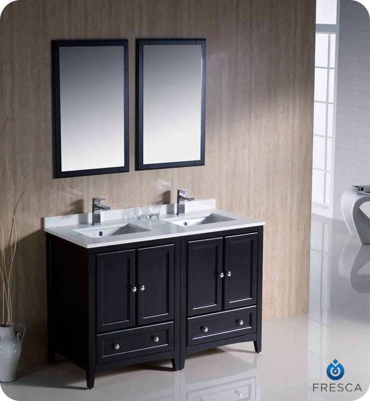 "Fresca Oxford Collection 48"" Espresso Traditional Double Sink Bathroom Vanity with Top, Sink, Faucet and Linen Cabinet Option"