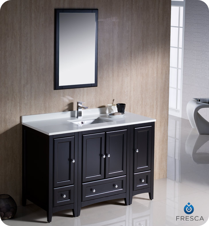 Perfect  Bathroom Vanity Espresso Or Cherry Finish With Mirror And Faucets