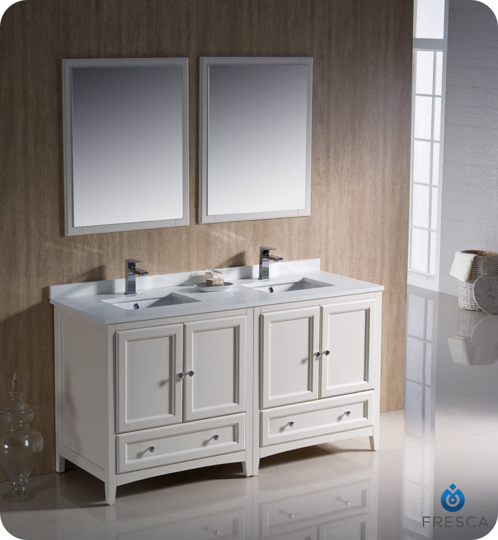 """Fresca Oxford Collection 60"""" Antique White Traditional Double Bathroom Vanity with Top, Sink, Faucet and Linen Cabinet Option"""