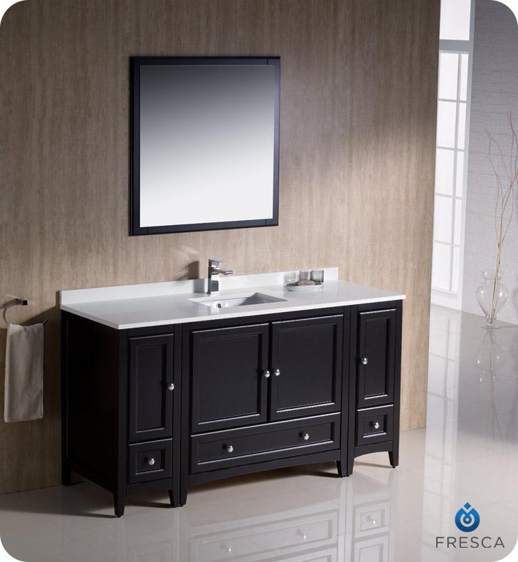 "Oxford 60"" Traditional Bathroom Vanity Espresso Finish"