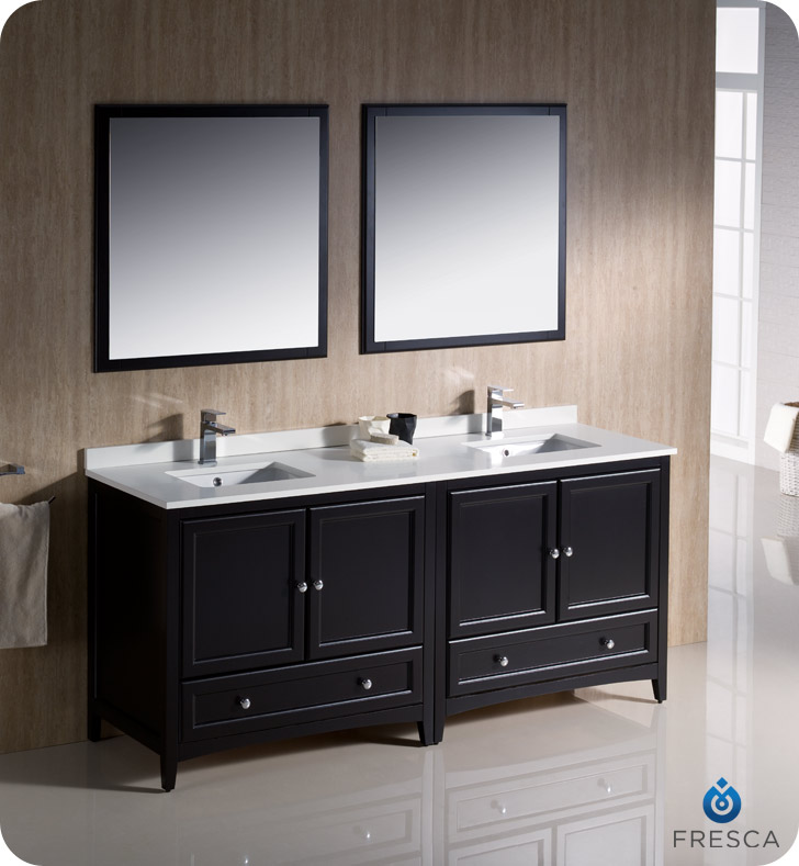 """72"""" Espresso Traditional Double Sink Bathroom Vanity with Top, Sink, Faucet and Linen Cabinet Option"""