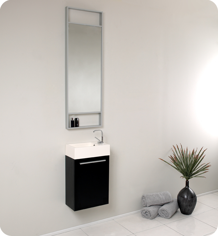 """16"""" Small Black Modern Bathroom Vanity with Faucet, Medicine Cabinet and Linen Side Cabinet Option"""