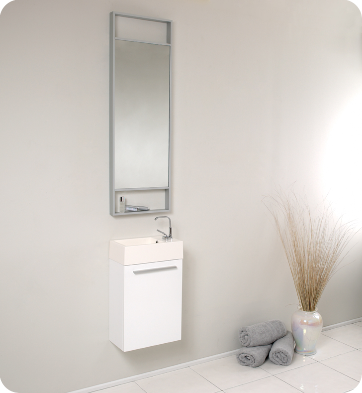 """16"""" Small White Modern Bathroom Vanity with Faucet, Medicine Cabinet and Linen Side Cabinet Option"""