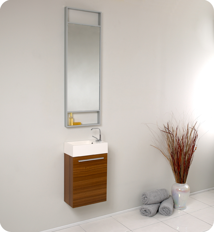 "Fresca Pulito 16"" Small Teak Modern Bathroom Vanity with Faucet, Medicine Cabinet and Linen Side Cabinet Option"