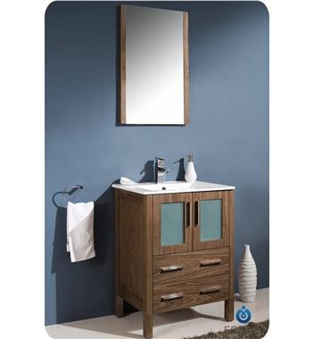 "24"" Modern Bathroom Vanity Walnut Finish"