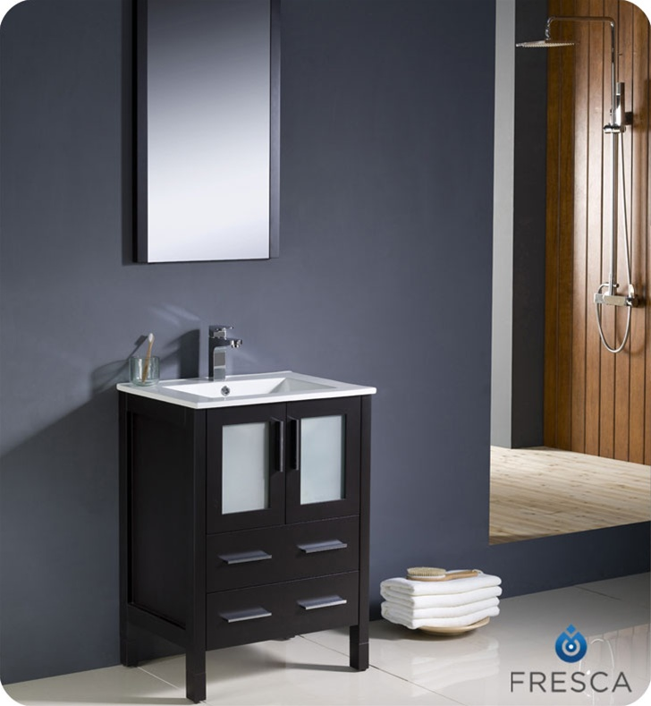 """24"""" Espresso Modern Bathroom Vanity with Faucet and Linen Side Cabinet Option"""