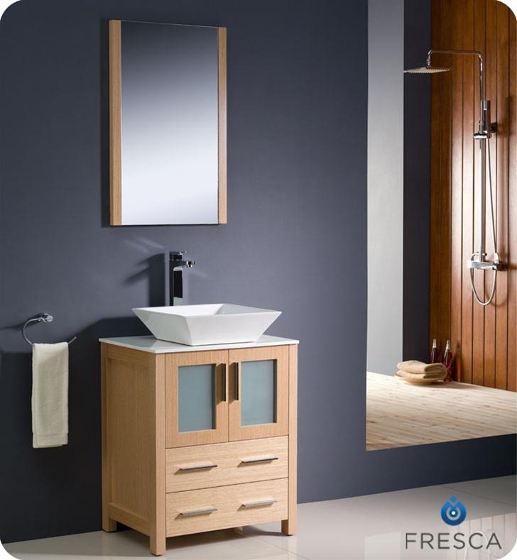 24 inch  Light Oak Modern Bathroom Vanity