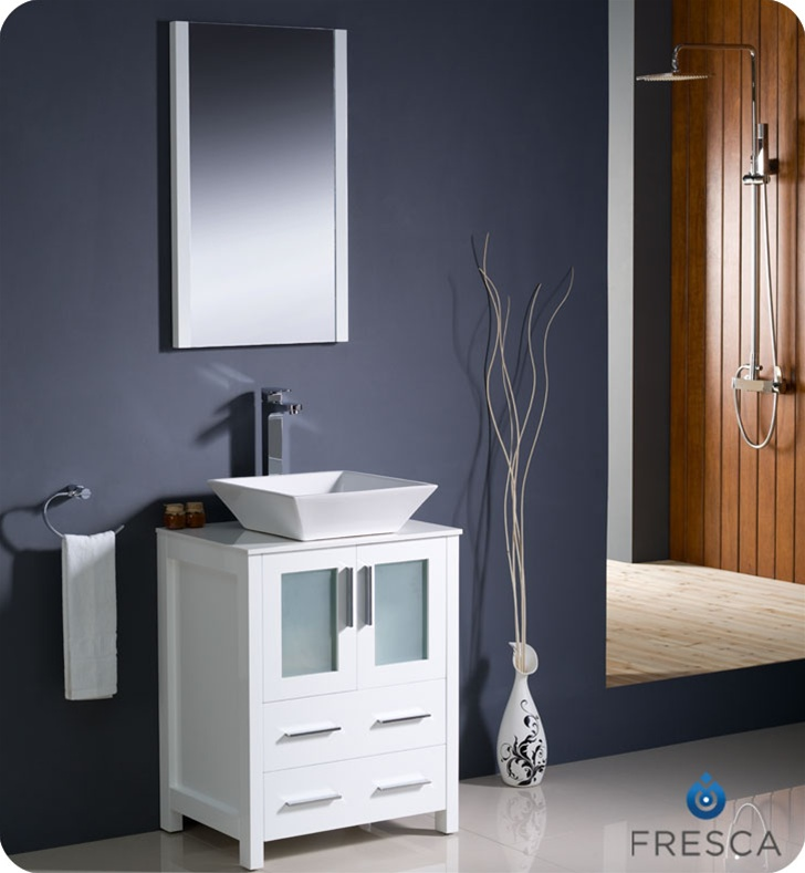 Fresca Torino 24 White Modern Bathroom Vanity Vessel Sink With