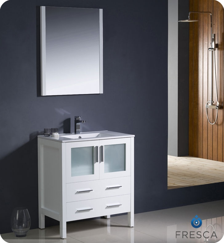 """Fresca Torino 30"""" White Modern Bathroom Vanity with Faucet and Linen Side Cabinet Option"""