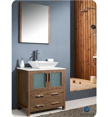 """30"""" Walnut Brown Modern Bathroom Vanity with Vessel Sink"""