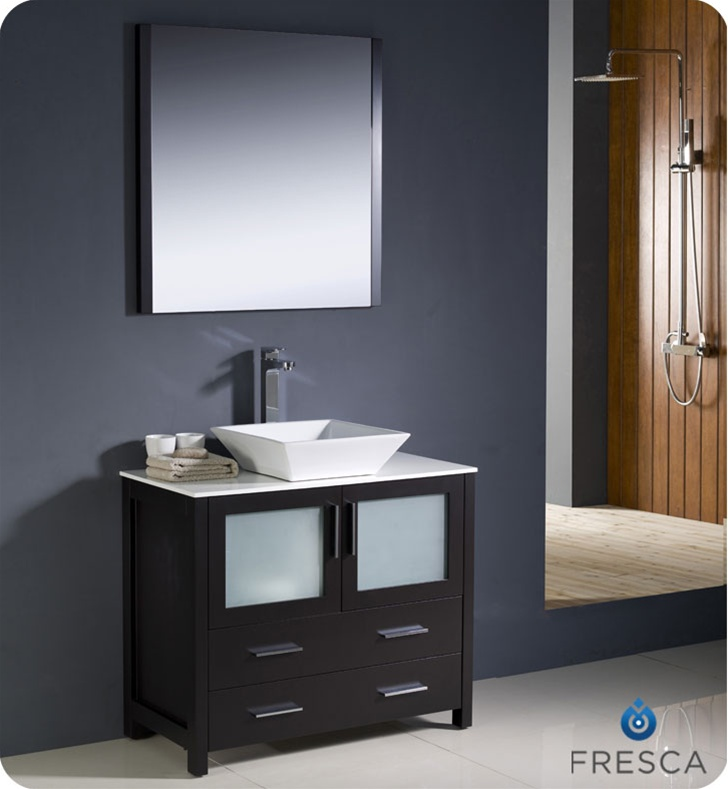 Fresca Torino 36  Espresso Modern Bathroom Vanity Vessel Sink with Faucet and Linen Side Cabinet Option