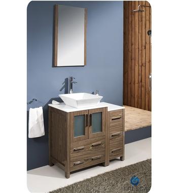 "36"" Walnut Modern Bathroom Vanity with Side Cabinet"