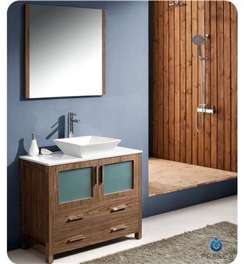 "36"" Walnut Modern Bathroom Vanity with Vessel Sink"