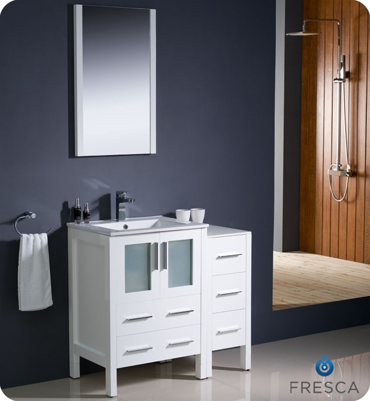 """36"""" Modern Bathroom Vanity with Color, Faucet and Linen Side Cabinet"""