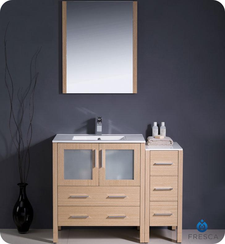 "42"" Light Oak Modern Bathroom Vanity with Faucet and Linen Side Cabinet Option"
