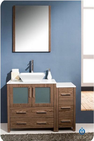 42 inch Walnut Vessel Sink Bathroom Vanity