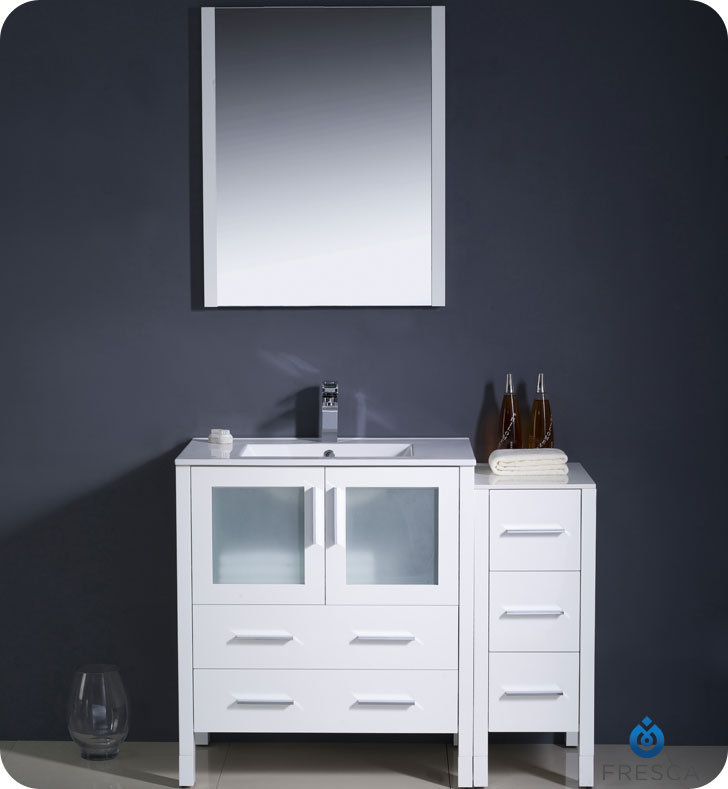 """42"""" White Modern Bathroom Vanity with Faucet and Linen Side Cabinet Option"""