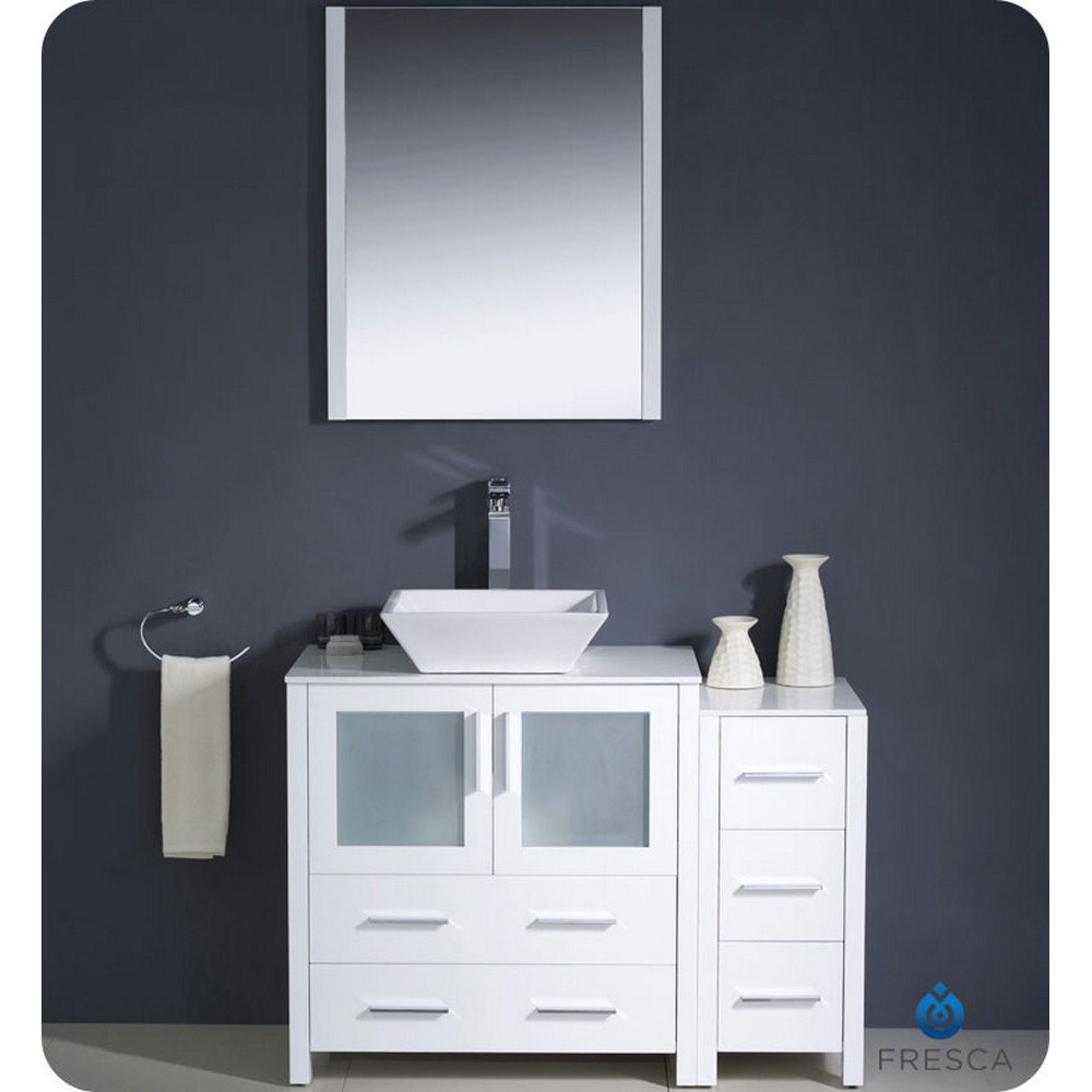 "Fresca Torino 42"" White Modern Bathroom Vanity Vessel Sink with Faucet and Linen Side Cabinet Option"