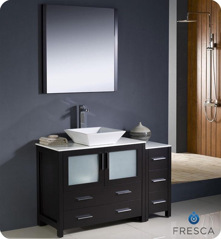 Fresca Torino 48 Espresso Modern Bathroom Vanity With Side Cabinet And