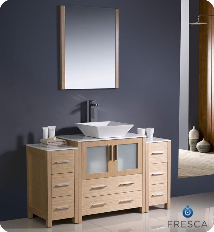 Fresca torino 54 modern bathroom vanity vessel sink with for 54 bathroom vanity cabinet