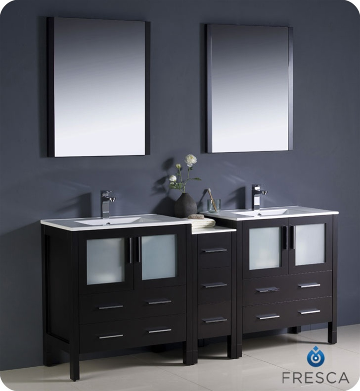 """72"""" Modern Double Sink Bathroom Vanity with Color, Faucet and Linen Side Cabinet Option"""
