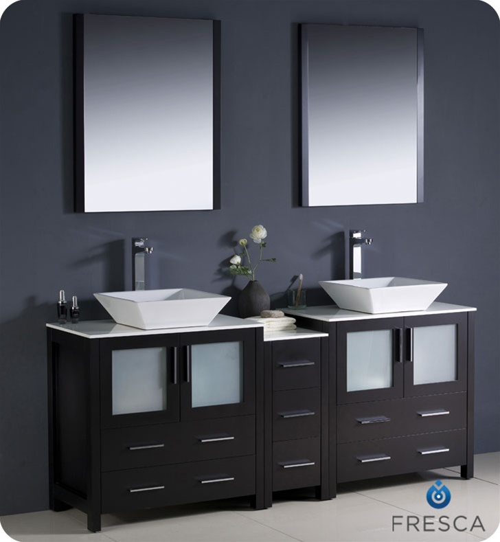 Fresca Torino 72  Modern Double Sink Bathroom Vanity Vessel Sinks with Color Faucet and Linen Side Cabinet Option & Fresca Torino 72