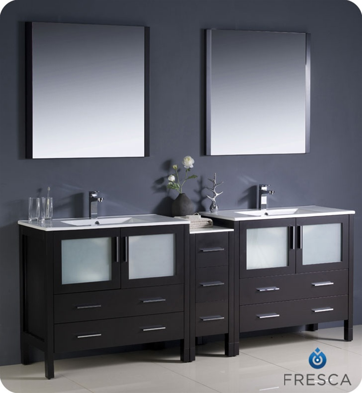 "Fresca Torino 84"" Espresso Modern Double Sink Bathroom Vanity with Faucet and Linen Side Cabinet Option"