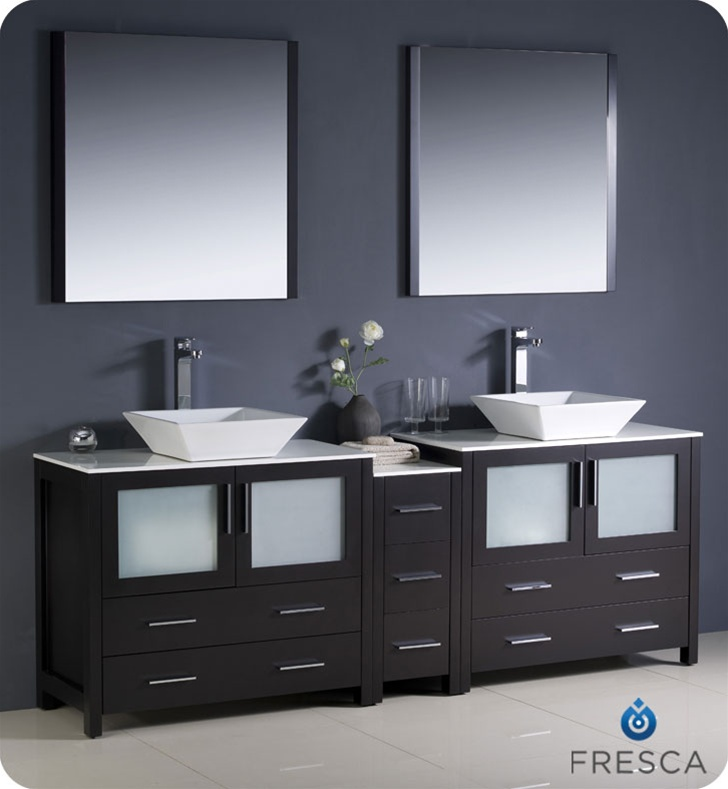 """Fresca Torino 84"""" Modern Double Sink Bathroom Vanity Vessel Sinks with Color, Faucet and Linen Side Cabinet Option"""