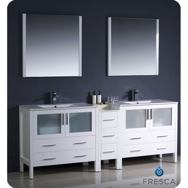 "Fresca Torino 84"" White Modern Double Sink Bathroom Vanity with Faucet and Linen Side Cabinet Option"