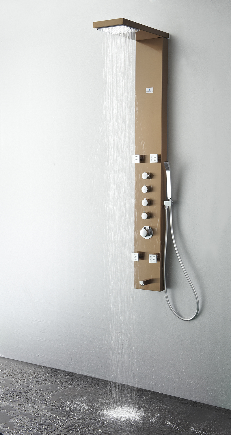 Verona Stainless Steel (Brushed Bronze) Thermostatic Shower Massage Panel