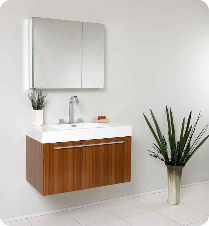 """Fresca Vista 36"""" Teak Modern Bathroom Vanity with Faucet, Medicine Cabinet and Linen Side Cabinet Option"""