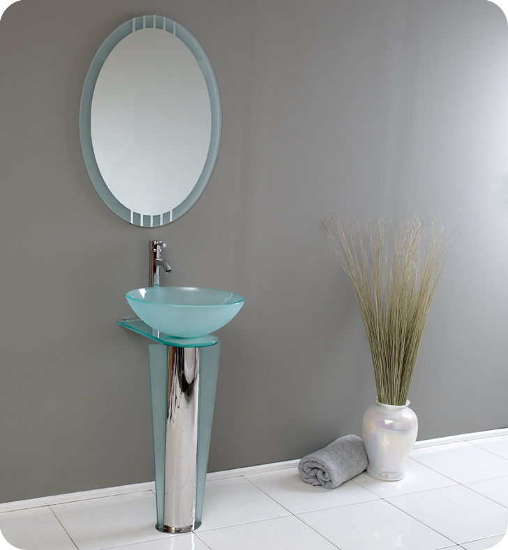 """17"""" Modern Glass Bathroom Vanity with Faucet and Cabinet Option"""