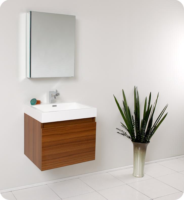 "Fresca Nano 24"" Teak Modern Bathroom Vanity with Faucet, Medicine Cabinet and Linen Side Cabinet Option"