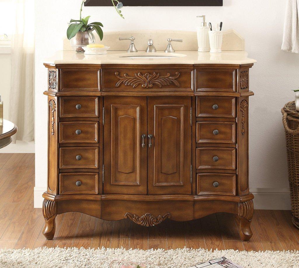 "Adelina 42"" Walnut Brown Antique Bathroom Vanity with Cream Marble Top"