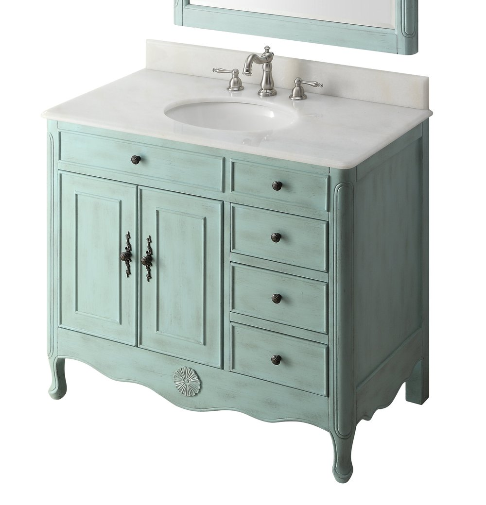 "Adelina 38"" Distressed Bathroom Sink Vanity - 6 color options"