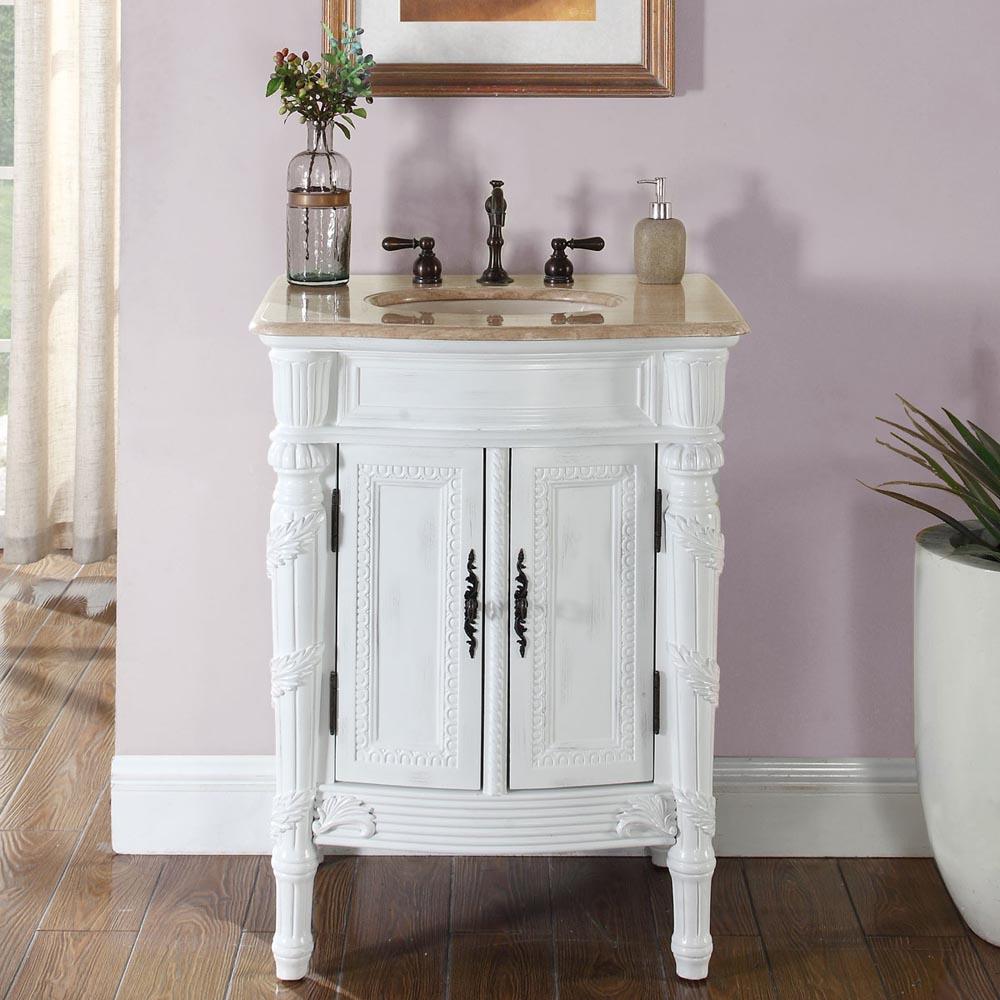 "26"" Single Sink Cabinet - Travertine Top, Undermount Ivory Ceramic Sink (3-hole)"